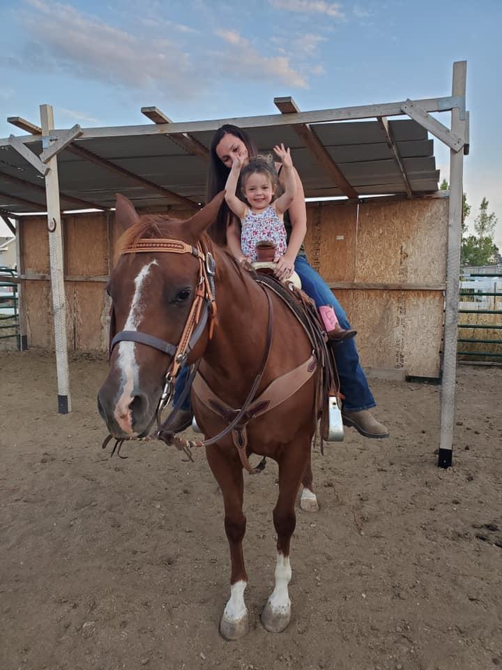 Willow riding Daisy